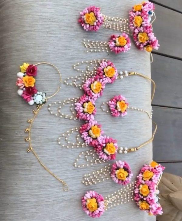 pink lower jewelry, bride flower jewelry, bridal flower jewelry, simple bridal jewelry, elegant bridal jewelry, flower jewelry for mehandi, flower jewelry for haldi, mehandi favors, mehandi jewelry, haldi jewelry, haldi jewelry for bride sister, mehandi jewelry for sister, latest flower jewelry, latest flower jewellery, flower jewelery designs, designer flower jewelry, latest flower jewelry designs, orange flower jewelry, white flower jewelry, yellow flower jewelry